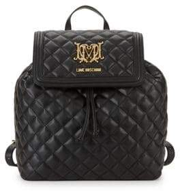 Love Moschino Quilted Faux Leather Drawstring Backpack