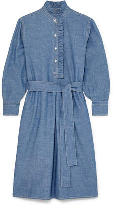 Tory Burch Deneuve Belted Ruffle-trimmed Cotton-chambray Dress - Dark denim