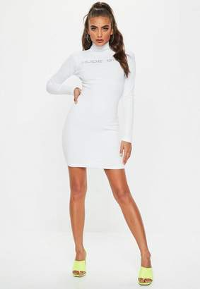 Missguided White Ribbed High Neck Graphic Long Sleeve Dress
