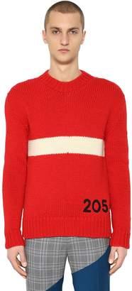 Calvin Klein Logo & Stripe Wool Knit Sweater
