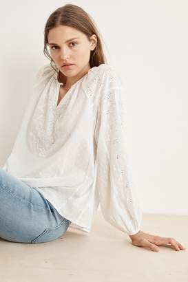 Velvet by Graham & Spencer VICTORIA COTTON DOBBY EYELET PEASANT BLOUSE