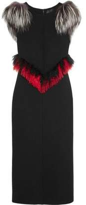 Proenza Schouler Faux Fur-Trimmed Crepe Midi Dress
