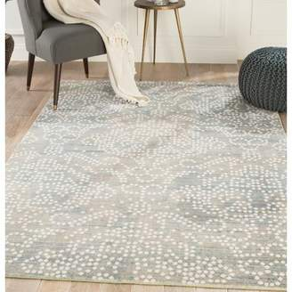 Wrought Studio Lilley Damask Gray/White Area Rug