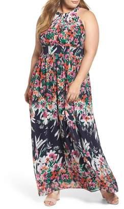Eliza J Floral Halter Chiffon Maxi Dress