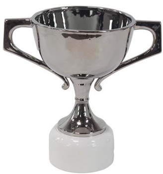 DecMode Decmode 18 X 12 Inch Modern Silver-Finished Ceramic Trophy Urn, Silver