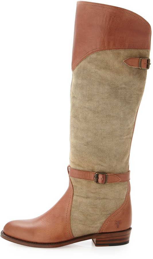 Frye Dorado Mixed-Media Flat Boot, Khaki/Tan