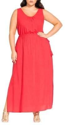 City Chic Plus Sleeveless Tassels Maxi Dress