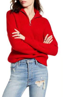 Scotch & Soda Knit Front Zip Turtleneck Sweater