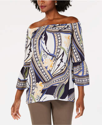 JM Collection Printed Off-The-Shoulder Top, Created for Macy's