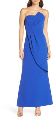 Vince Camuto Strapless Faux Wrap Evening Dress