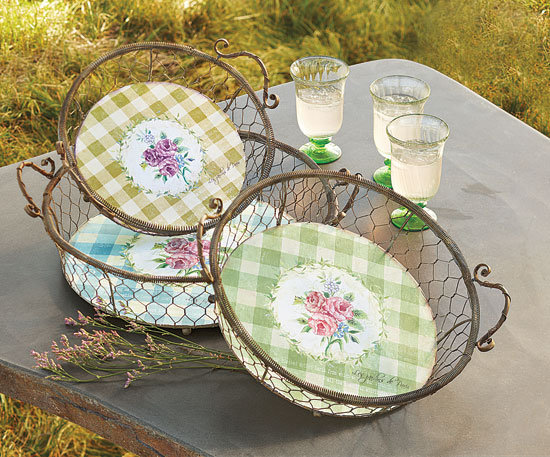 Napa Style Gingham Floral Plates and Baskets