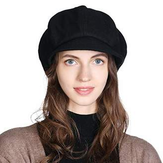 Cloche Jeff & Aimy Womens 51% Wool Winter Cap Cold Weather Newsboy Hat Ladies Berets Visor Hat Lined Beige