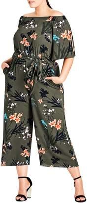 City Chic Jungle Print Crop Jumpsuit