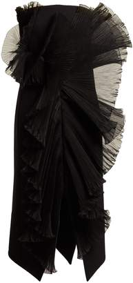 Givenchy Strapless ruffle-trimmed wool midi dress