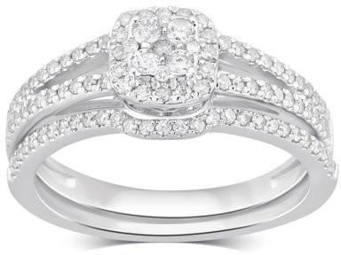 Generic 1/2 Carat T.W Diamond 10K White Gold Bridal Set. (I-J/I2-I3)