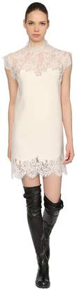 Ermanno Scervino Wool Blend Knit & Silk Lace Dress