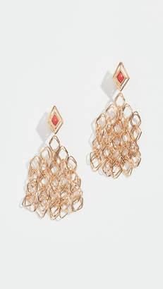 Aurelie Bidermann Filo Pendant Earrings with Coral Enamel