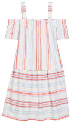 Joules Off-the-Shoulder Multi-Stripe Cotton Dress, Size 3-10