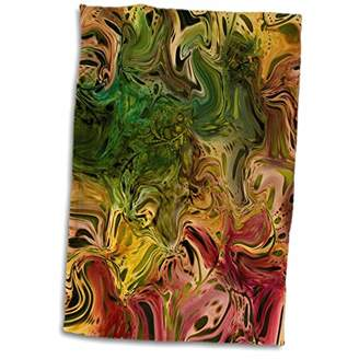 N. 3D Rose Picture of Burgundy Gold Olive Green Abstract Painting Hand/Sports Towel 15 x 22