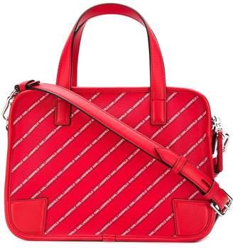 Karl Lagerfeld Paris striped logo bowling bag