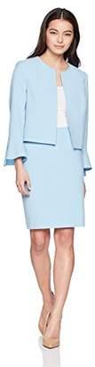 Tahari by Arthur S. Levine Women's Petite Crepe Tulip Sleeve Open Front Jacket Skirt Suit
