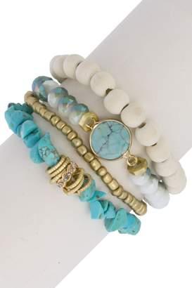 Saachi Stackable Bead & Turquoise Accent Bracelet Set