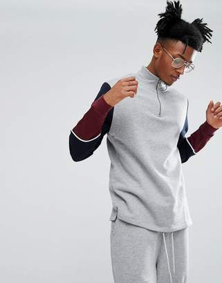 Asos Longline Half Zip Track Sweatshirt With Color Block Sleeves