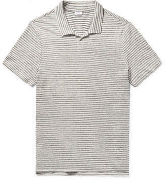 Onia Shaun Slim-Fit Striped Slub Linen and Cotton-Blend Polo Shirt