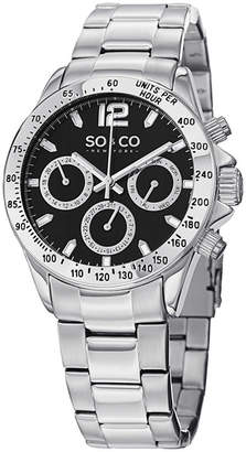 Co SO & NY Mens Monticello Stainless Steel Bracelet Black Dial Sport Quartz Watch J150P52