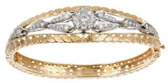 14K Yellow Gold Diamond Hand Pierced and Engraved Texture Hinged Vintage Bangle Bracelet