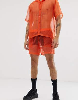 Asos Design DESIGN festival co-ord shorter shorts in sheer orange organza