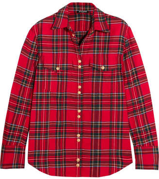 Balmain - Button-detailed Tartan Cotton Shirt - Red $1,380 thestylecure.com