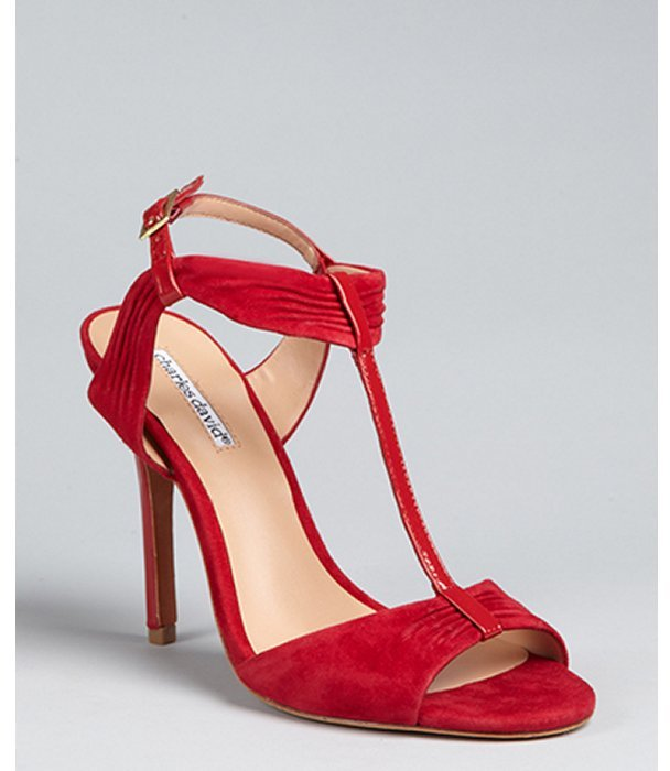 Charles David red suede and patent 'Society' t-strap sandals