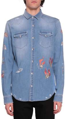 Amen Embroidered Denim Cotton Shirt