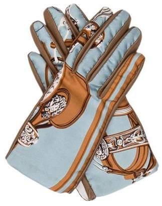 Hermes Printed Silk Lambskin Gloves