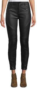 Faux-Leather Skinny Moto Pants