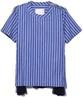 Sacai Shirting Side Pleated Short Sleeve Top in Navy/Blue Stripe