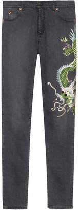 Gucci Dragon embroidered denim skinny jeans