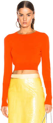 Sies Marjan Gwin Crop Crew Sweater in Blood Orange | FWRD