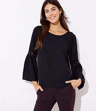 LOFT Lace Bell Sleeve Mixed Media Top