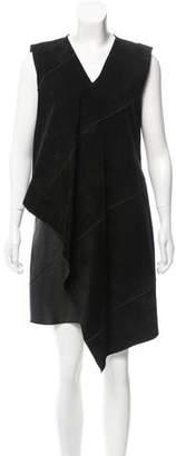 Derek Lam Suede & Leather-Paneled Midi Dress