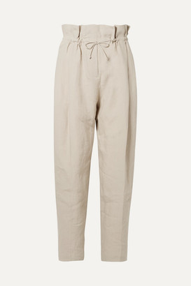Acne Studios Paoli Pleated Linen Tapered Pants - Beige