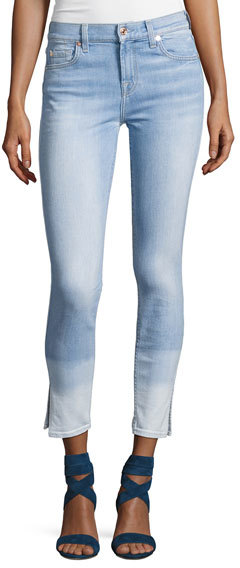 7 For All Mankind7 For All Mankind The Ankle Skinny Ocean Breeze Jeans W/Side Slit
