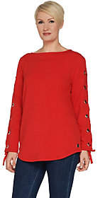 Susan Graver Weekend French Terry Tunic withLacing Detail