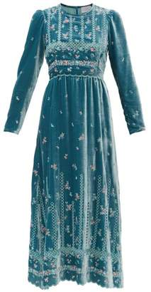 Luisa Beccaria Floral Embroidered Velvet Gown - Womens - Light Blue