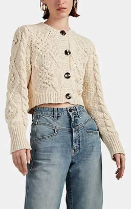 LES COYOTES DE PARIS Women's Kate Cable-Knit Crop Cardigan - Cream
