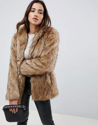 Asos DESIGN stand collar faux fur coat