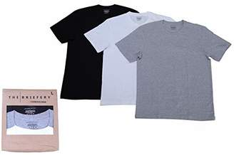 The Briefery Men's Soft Cotton Stretch Crew Neck TEE (3 Pack) White/Grey Heather/Black