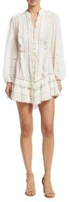 Zimmermann Breeze Embroidered Eyelet Mini Tunic Dress