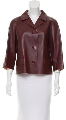 MarniMarni Leather Three-Quarter Sleeve Jacket